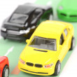 Toy cars on road — Stock Photo