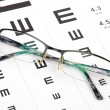 Glasses and eye chart - Foto Stock