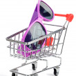 Shopping cart and sunglasses — Stock Photo