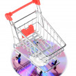 Shopping cart and DVD — Stock Photo #12185640