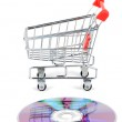 Shopping cart and DVD — Stock Photo