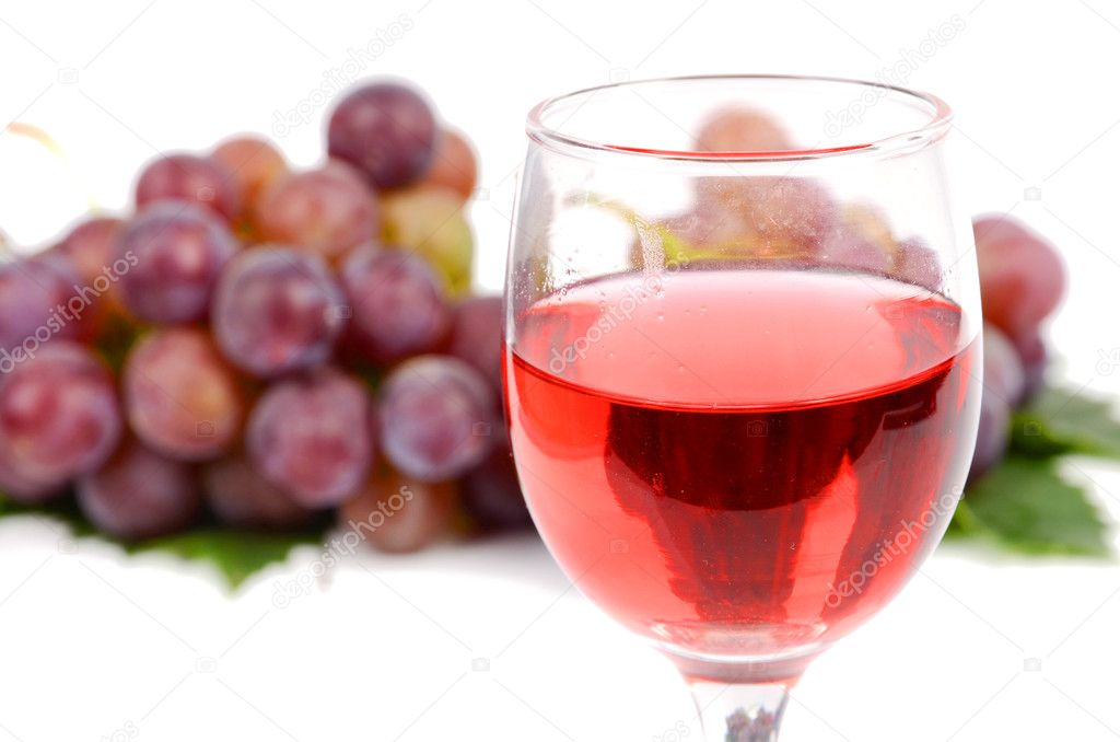 Red wine on white background  Stock Photo #12182030