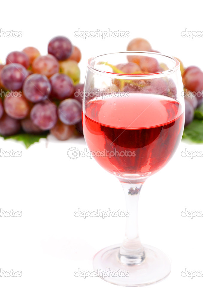 Red wine on white background  Stock Photo #12182032