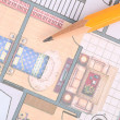 Stock Photo: Blueprint and pencil