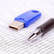 USB flash disk and pen on binary code — Stockfoto