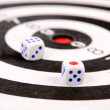 Dices and dartboard — Stockfoto