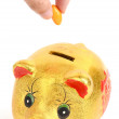 Piggy bank and candies — Stock Photo