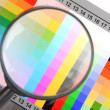 Stock Photo: Magnifier and color card