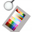 Magnifier and color card — Stock Photo