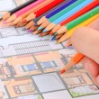 House plan and color pencil — Stock Photo