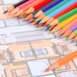House plan and color pencil — Stock Photo #12247513