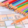 House plan and color pencil — Stock fotografie