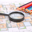 House plan,magnifier and color pencil - 
