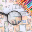 House plan,magnifier and color pencil - Lizenzfreies Foto