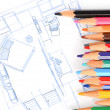 House plan and color pencil — Stock Photo #12247891