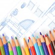House plan and color pencil — Foto de Stock