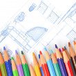 House plan and color pencil — Stockfoto