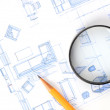 Pencil,magnifier and house plan — Stock Photo
