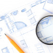 Pencil,magnifier and house plan — Stock Photo #12248222
