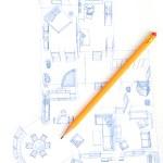 Bleistift und Haus-plan — Stockfoto