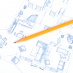 potlood en huis plan — Stockfoto