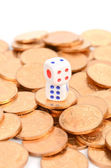 Dice and coins on white background — Stock Photo