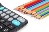 Calculator and pencil — Stock Photo