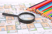 House plan,magnifier and color pencil — Stock Photo