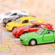 Stock Photo: Toy car and map