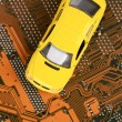 Stock Photo: Toy car and circuit board