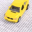 Toy car on binary code — Stock Photo