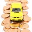Toy car and coins — Foto de Stock