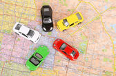 Toy car and map — Stock Photo