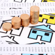 Receipts,coins and house with toy car - Foto Stock