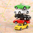 Stockfoto: Toy cars on map