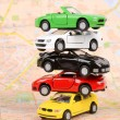 Toy cars on map — 图库照片