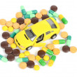 Toy cars and medicine — Stockfoto