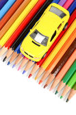 Toy car and color pencil — Stock Photo