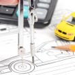 Car blueprint — Stock Photo