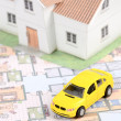 Model house,car and blueprint — Stock Photo