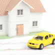 Toy car and house — Stock Photo