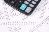 Receipts and calculator — Stock Photo