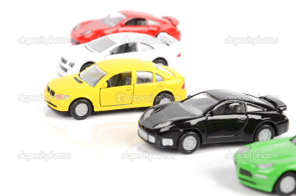 Toy cars on white background — Stok fotoğraf #12300827