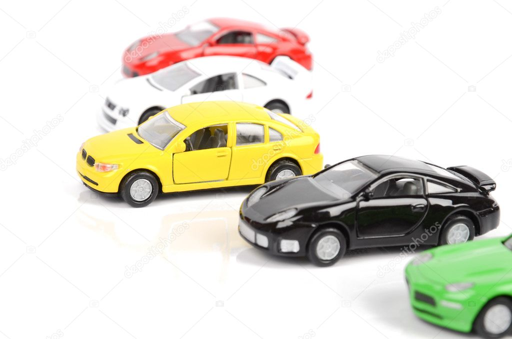 Toy cars on white background  Stockfoto #12300827