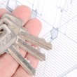 Key and house plan — Stock Photo