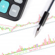 Calculator and pen on stock graph — Stock Photo #12391245