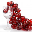 Wine glass and grape on white background - Stock Photo