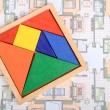 Blueprint and chinese jigsaw puzzles — 图库照片 #12394891