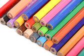 Barevné tužky na bílém pozadí — Stock fotografie