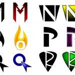 Superhero or athletics symbols m-r — Stock Vector